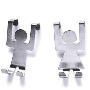 2Pcs Stainless Steel Over Door Tableware Hooks Kitchen Cabinet Drawer Clothes Holder Hanger Home Storage Organizer Hooks Rails(China)