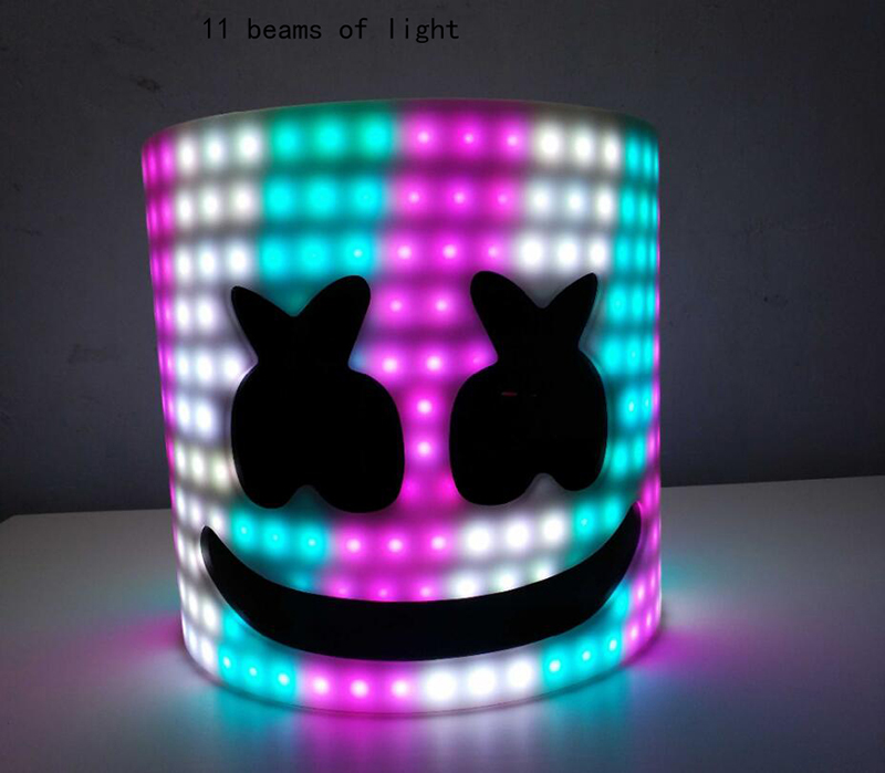 11 BEAMS OF LIGHT Free Transform Marshmello Helmet DJ Marshmello Mask Concert Props Future Bass Marshmello Prop Bars With LED
