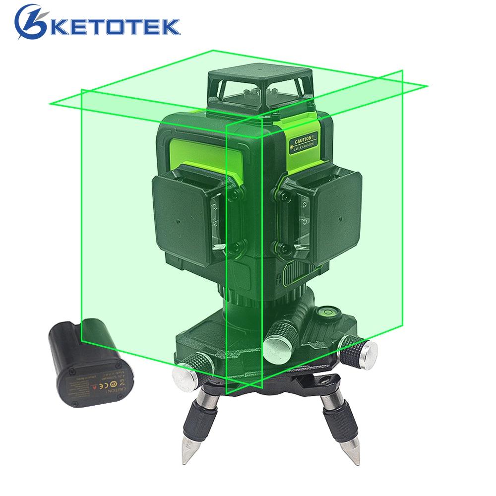 Ketotek 3D 12 Lines Green Laser Level Self Leveling 360 degree Horizontal Vertical Cross Rechargeable Battery