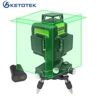 Ketotek 3D 12 линий зеленый лазерный уровень самонивелирующийся 360 градусов горизонтальный вертикальный крест аккумуляторная батарея Открытый