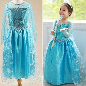 2016 summer children dresses anna elsa dresses for kids dress girl elza costume vestidos infant rapunzel frocks princess sofia  Чокер