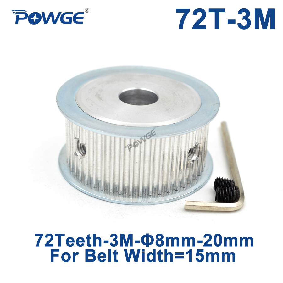 POWGE 72 Teeth HTD 3M Timing Pulley Bore 8/10/12/14/15/16/17/19/20mm for Width 15mm HTD3M Synchronous Belt wheel 72T 72Teeth все цены