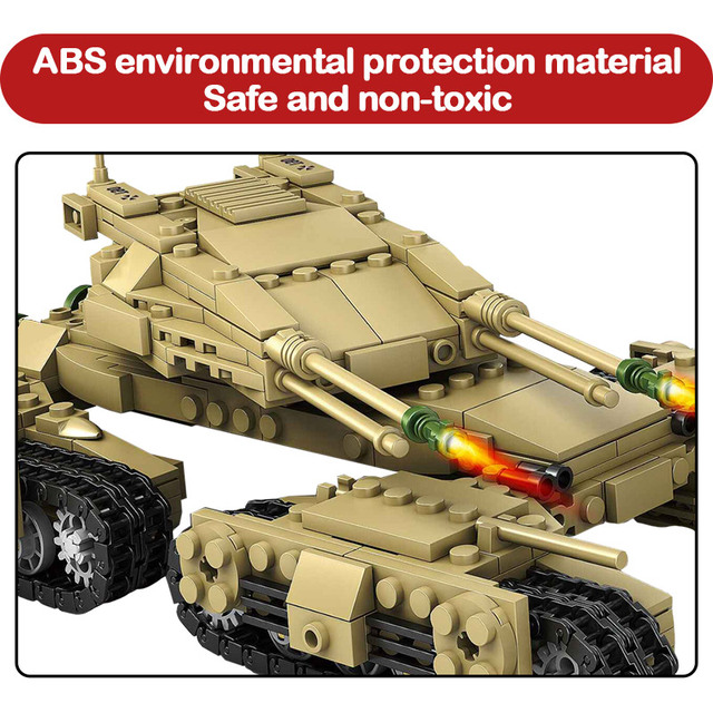 1242pcs Iron Tank Trench WW2 Military City Series Assemblage Building Blocks Weapon Tank Bricks Toys For Children