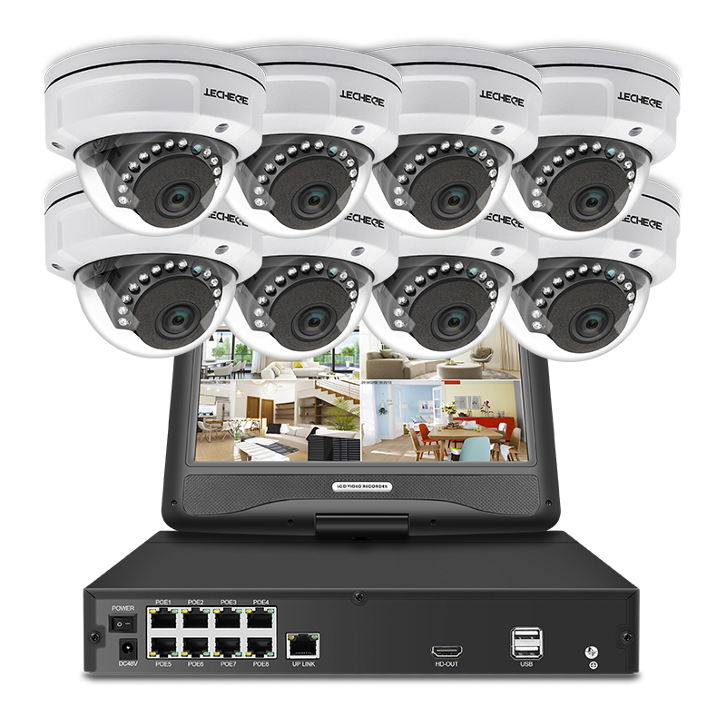 Techege 8CH 1080 p POE NVR kit Con 10.1 ''LCD Monitor 2MP 3000TVL Antivandalismo PoE IP Macchina Fotografica di Visione Notturna video di Sorveglianza Kit