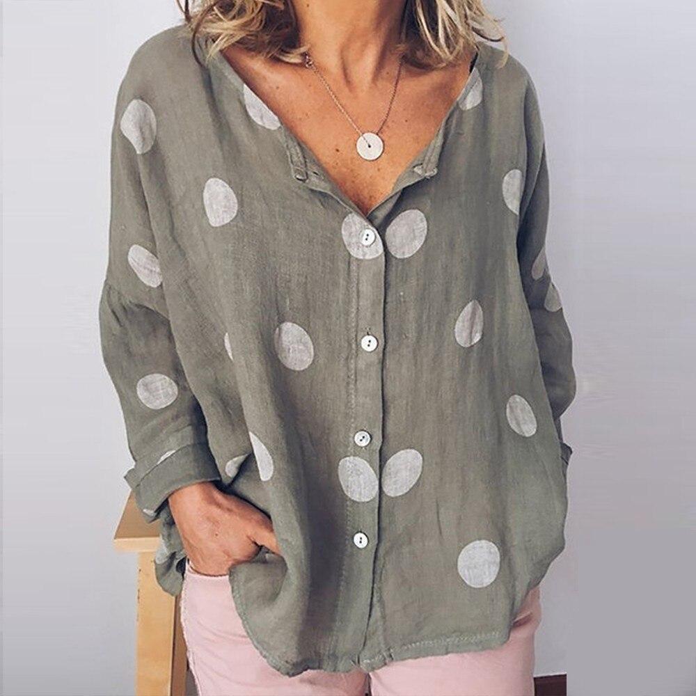 Summer Baggy Dot Print Blouse Women Plus Size Long Sleeve Women's Tunic Cotton Linen Shirt Ladies White Womens Tops Blouses
