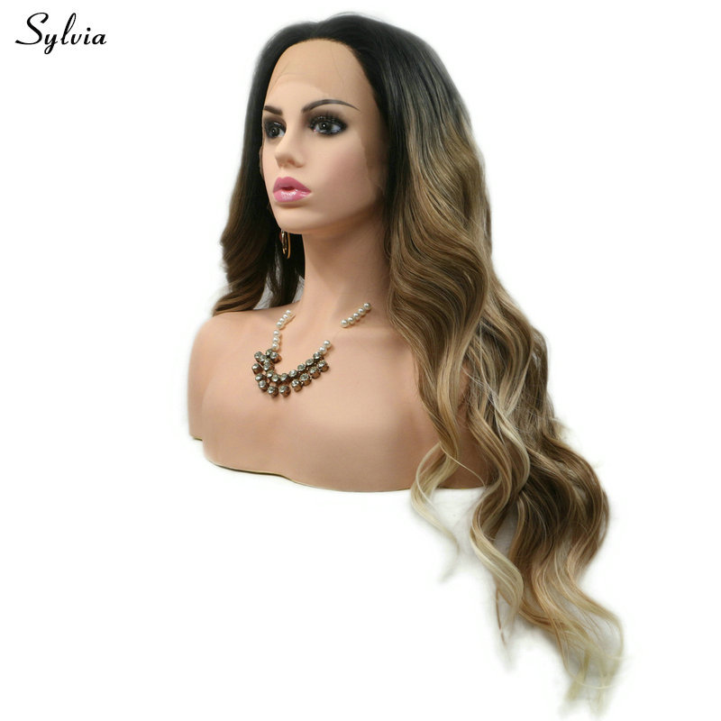 Sylvia Middle Part Mixed Brown Ombre Loose Wave Synthetic Lace Front Wigs With Blonde Tips Dark