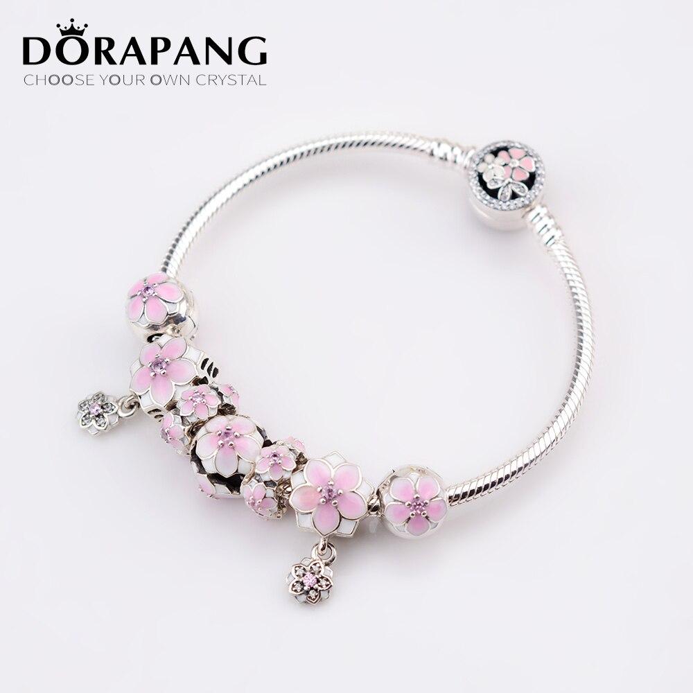 DORAPANG NEW Genuine 100% 925 Sterling Silver Bracelet Set For Europe Women Spring Pink Flowers DIY Gift Original Charm Jewelry dorapang 100