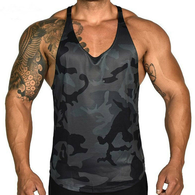 2019 New Mens Gym Vest Racerback Bodybuilding Muscle Camo Camouflage Stringer Plain Tank Top Fitness Singlet Tops