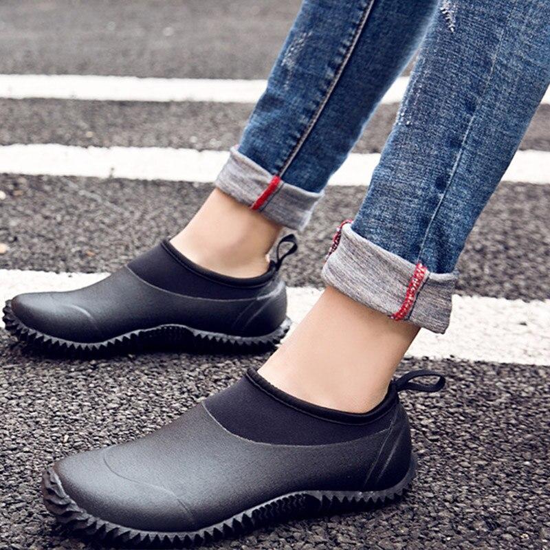 Low Rubber Water Shoes Men Women Slip On Elastic Rainproof Waterproof Rain Shoes Comfortable Soft Non