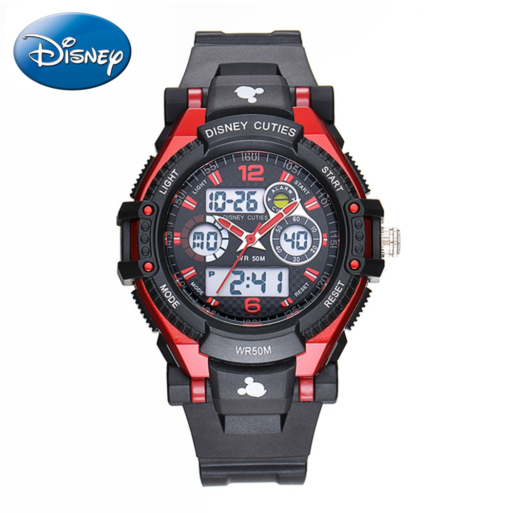 Disney 55049 Clocks Watches Mickey Quartz Feminino Woman Sports Fashion Round Digital