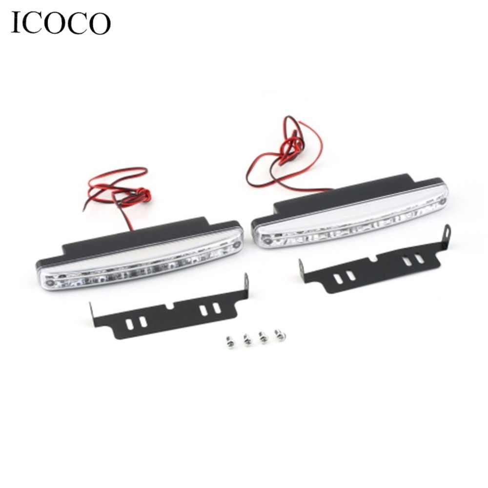 Super White 12V 8 LEDs Auto Car Daytime Running Lights 6000K Fog Lamps Car Driving Light Lamp High Quality Hot hot