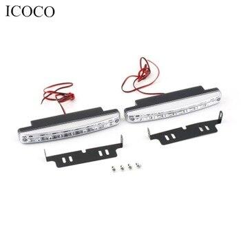 цена на Super White 12V 8 LEDs Auto Car Daytime Running Lights 6000K Fog Lamps Car Driving Light Lamp High Quality Hot hot