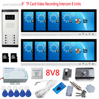 9 Color Monitor 8GB TF Card Video Recording Home Intercom 8 Buttons Door Bell Camera For