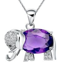 Purple Blue Crystal Necklace Cz Elephant Animal Pendant Necklaces For Women Fashion Jewelry For Ladies Gifts