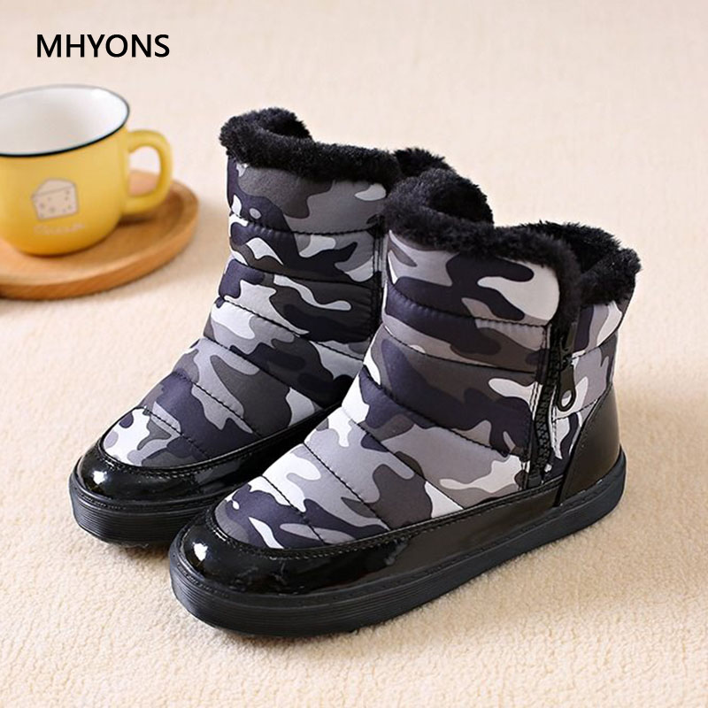 купить 2018 New Winter Kids Shoes Boys Girls Snow Boots Warm Plush Boots Baby Boy Camouflage Boots Leather Waterproof Children Sneakers по цене 1557.14 рублей