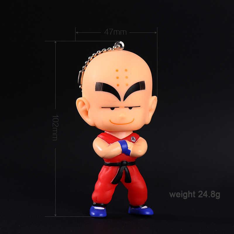 Bonito Anime Dragon Ball Goku Macaco Chaveiro Llavero Chave da Cadeia de PVC Corda de couro Anel Chave Chaveiros Saco Pompom Pom Pom Pele Pingente