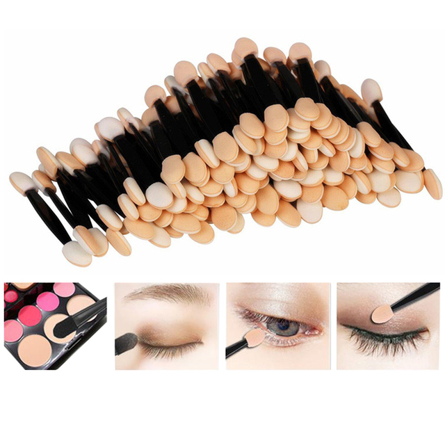 30/50/100 PCS Disposable Eyeshadow Brush Dual Sided Sponge Nylon Sets Make up Eye Shadow Brushes For Cosmetic Applicator Makeup 1