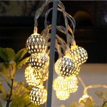 Battery Powered Warm White led Fairy String light Round Silver Iron ball decorative rope for indoor outdoor