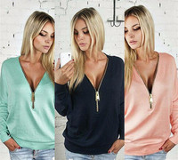 Spring Winter Women Casual Ladies Sexy V-Neck Long Sleeve Hoodie Women Jumper Pullover Tops Solid Plus Sise Sweatershirt
