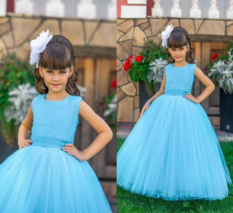 Beautiful Tulle   Flower     Girl     Dress   For Special Occasion Blue Belt Cheap Price Custom Made For Gilrs Birthday Party Prom   Dress