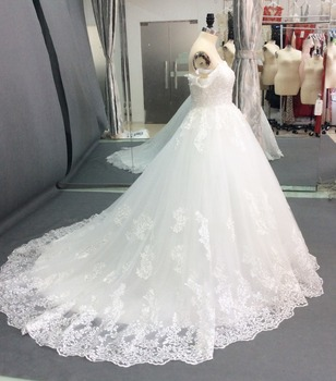 Vestido de Noiva 2018 Princess Wedding Dresses Off Shoulder Applique Lace Sweetheart Puffy Ball Gown Bridal Dress Robe De Mariee 2