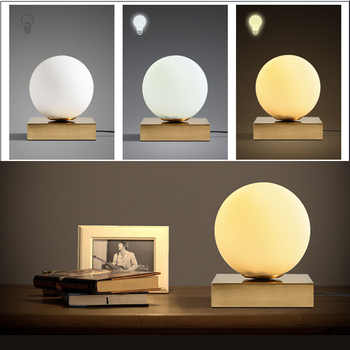 Modern Table Lamp US/EU Plug 5W LED Bedlamp Bedroom Living Room Desk Lamp Bedside Lamp Glass Shade Night Reading Home Lamparas