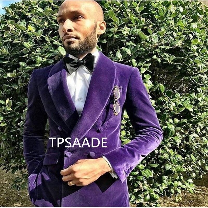 الأرجواني المخملية شال طوق الرجال بدلة وسيم سترة مزدوجة الصدر 2017 سهرة للحزب جديد نمط الدعاوى (سترة + السراويل + ربطة القوس فيونكة)-في بدلة من ملابس الرجال على  مجموعة 3