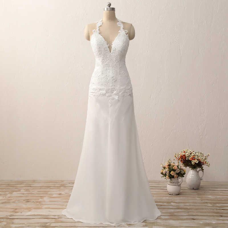 a6dc151793d 2019 Холтер свадебное платье с открытой спиной белый слоновая кость свадебное  платье