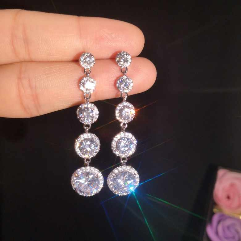 Luxury Fashion Female Crystal Round Drop Earrings 925 Sterling Silver Boho Wedding Jewelry Long Zircon Stone Dangle Earrings