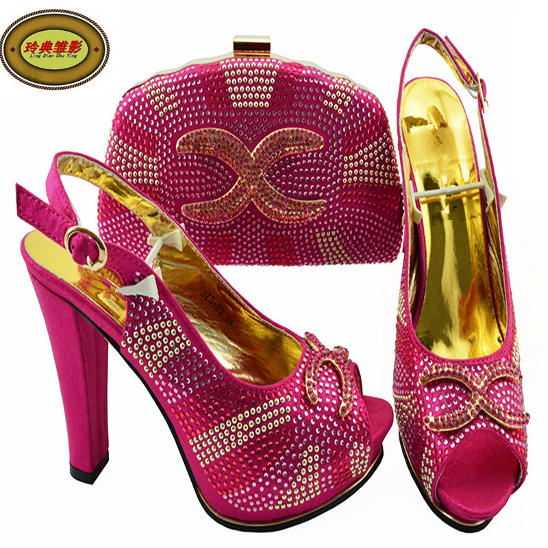 JZS-03 New Arrival Italian Gold Shoes And Bag Set African Summer High Heels Shoes And Bag For Wedding Free Shipping