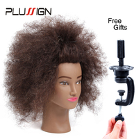 100 Human Hair Hairdressing Practice Mannequin Head Afro Hair Professional Training Hairdressing Head Real Hair For