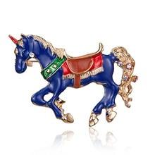 773654bf3f611 Blue Enamel Crystal Horse Brooch Pin unicorn Animal Brooches for Kids Women  Men Coat Collar Suit