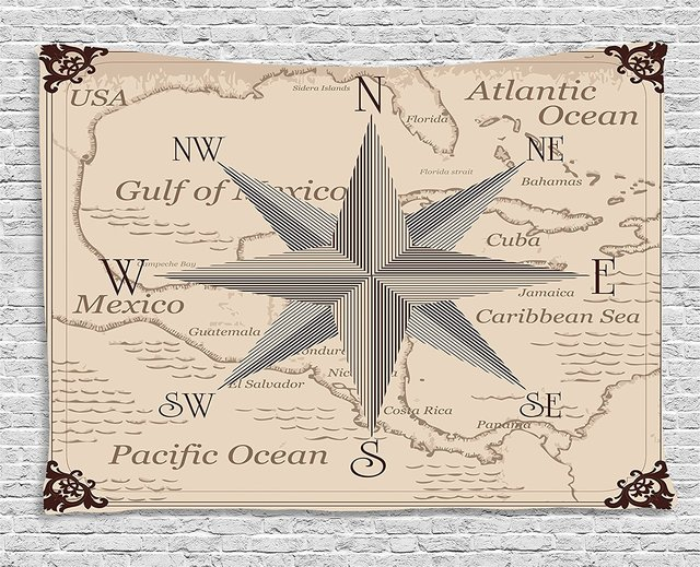 Compass Tapestry Central American Map Caribbeans Background Windrose ...