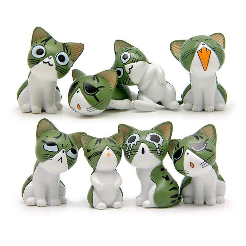 8 шт./лот аниме Чи Sweet Home Cat милые рисунки милый котенок кошка смайлик Emoji ПВХ фигурку Модель игрушки для детей Рождественский подарок