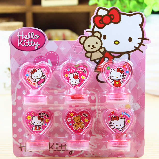 6Pcs/set Kawaii New Hello Kitty Toys Action Figure Dolls For Children Boys Girls Kids Gifts cartoon stamps sets Seal Stamper