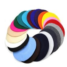Новинка, модный однотонный теплый шерстяной зимний тонкий шерстяной берет для женщин и девушек, французская Шапка-бини, шапка для женщин CL0053