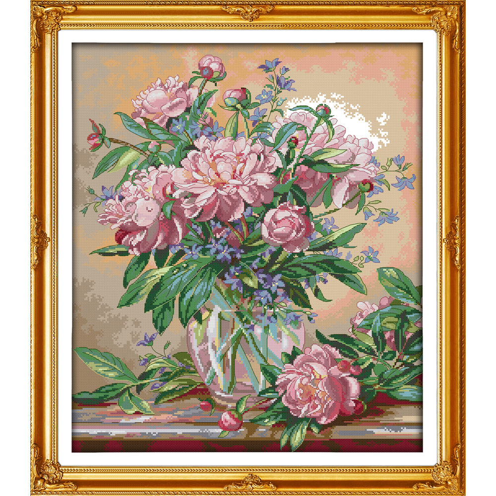 Everlasting Love Bluebells Vase  Chinese Cross Stitch Kits Ecological Cotton Clear Stamped Printed 11CT DIY Christmas Decoration