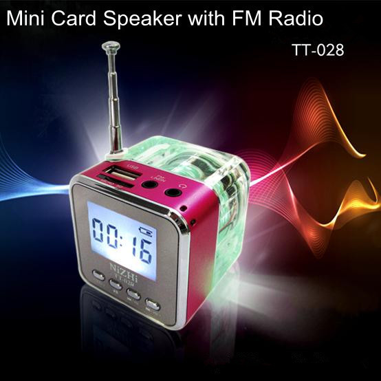 HOT Portable LED Crystal Mini MP3 Speaker with TF Card USB FM Radio Colorful Light for Mobile Phone Computer High Quality