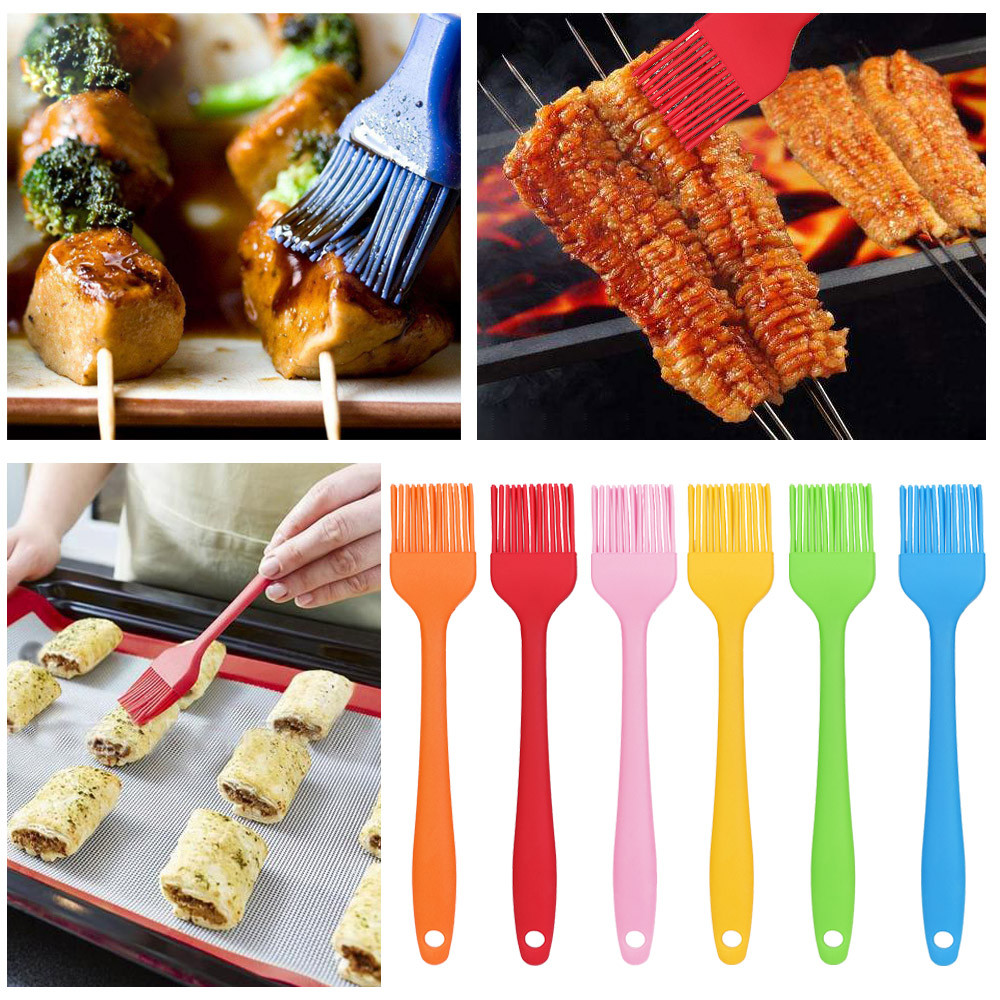 Basting Brushes Bbq The Cheapest Price 3pc Integrated Silicone Brush High Temperature Kitchen Barbecue Bread Kitchen Pancake Barbecue Tools Beautiful In Colour