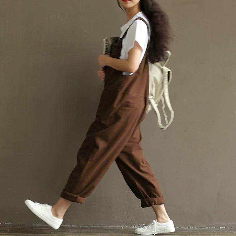 Zanzea kobiety moda jesień kombinezony 2017 casual pajacyki kobiet kombinezon kieszenie luźne stałe paysuits plus size 6