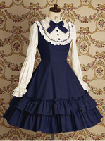 2015 Spring Lolita Long Sleeved Dress Girl Sweet Dress Blue And Red Dress On Sale