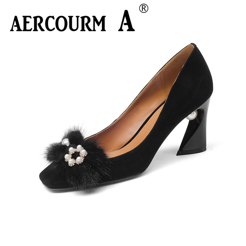 Aercourm A 2018 Women Fashion Shoes Ladies Kid Suede Leather Shoes Square High Heel Pumps Pearl Metal Buckle Brand Shoes Z339 aercourm a 2018 women black fashion shoes female bright genuine leather shoes pearl high heel pumps bow brand new shoes z333