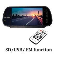 7 Дюймов TFT LCD 480×234 Автомобиль Зеркало Заднего вида Монитор MP5 SD USB FM передатчик авто Парковка Монитор 2 AV in reversing приоритет