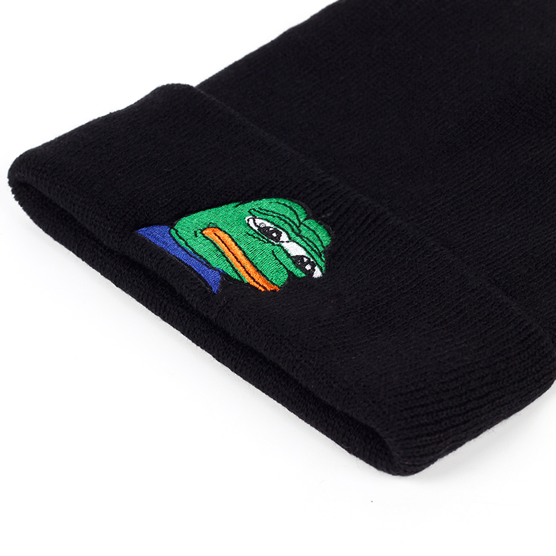 Embroidery Knitted Beanie Cap Pepe Feels Bad Man Winter Hat Sad Kermit Skullies