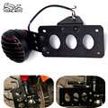 Placa de licença da motocicleta side mount bracket brake tail light fit for harley chopper honda suzuki kawasaki yamaha