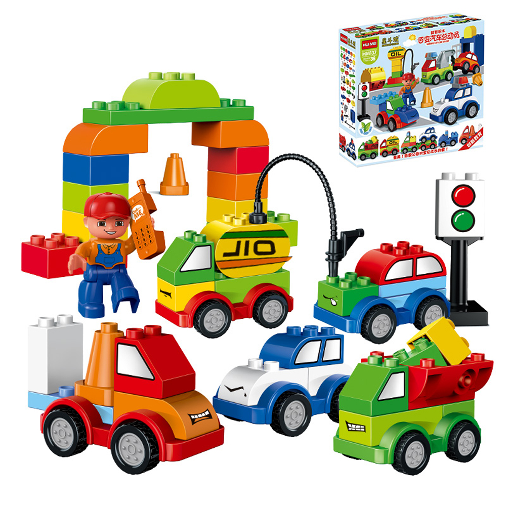 52pcs My First Creative Cars Variety of Car Story Big Size Building Blocks Bricks Baby Toys Compatible With legoeINGlys Duplo my first animals