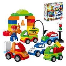 52 pcs Mon Premier Creative Cars Variété de Voiture Histoire Grande Taille Blocs de Construction Briques Bébé Jouets Compatible Avec legoeINGlys Duplo
