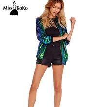 5ba016157 MissKoKo 2018 Mulheres Casaco De Paetês Jaqueta Verde de Manga Longa Com  Zíper Jaqueta Streetwear Solto