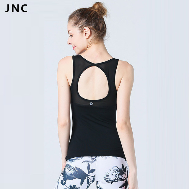 d8b9f563c0 JNC Womens Large Circle Cutout Mesh Yoga Tank Tops With Built-in bra Slim-fit  cut Fitness Gym Shirts