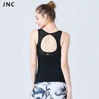 JNC Womens Büyük Daire Kesme Örgü Yerleşik sutyen Yoga Tank Tops Slim-fit kesim Fitness Salonu Gömlek